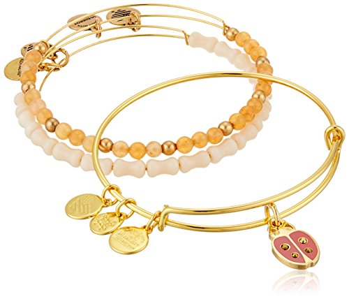 Alex and Ani Lady Bug Set of 3 Rafaelian Silver Bangle -