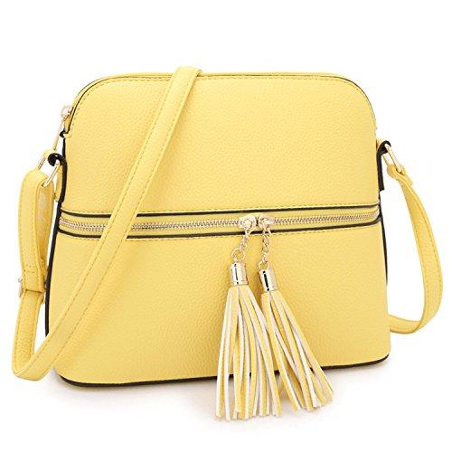 (Lightweight Women Crossbody Bags,Travel Shoulder Messenger Purse Medium Size Clutch Multi Zipper Designer Satchel for All Seasons (MKP-XL-19-7660-L.YL))