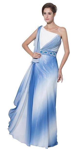 Orifashion One hombro azul gasa de gradiente de color blanco/diseño de vestido de fiesta