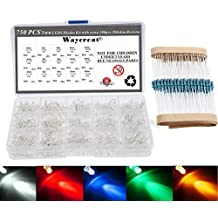 Waycreat 750PCS (5 Colorsx150pcs) 3mm Clear LED Emitting Diodes Light Kit with 100PCS 200ohm Resistor