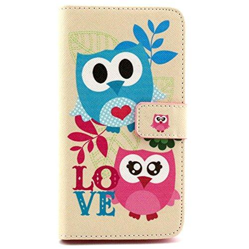 LG G3 Stylus Case, Unlocked,Queenbox New Fashion Pattern - LG G3 Stylus 3G D690 Unlocked Design Dual-Use Flip PU Leather Fold Wallet Pouch Case for LG G3 Stylus 3G D690[Couple Owl Pattern]