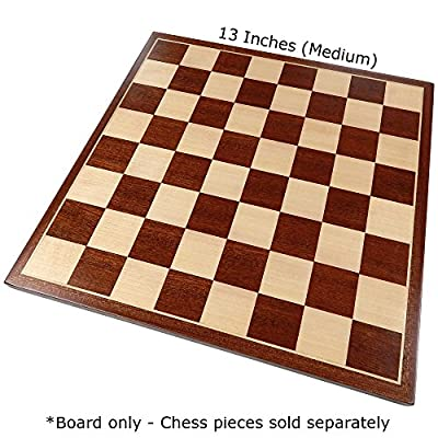 Erebus Chess Board with Inlaid Mahogany Wood, Medium 13 x 13 Inch, Board Only: Toys & Games