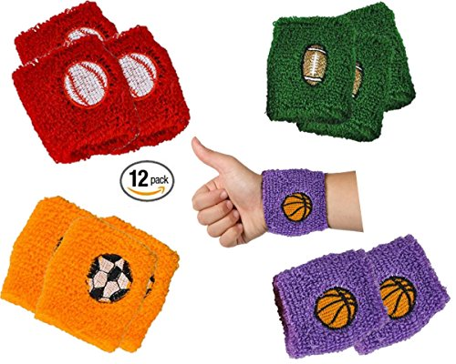 Playo Kids Sports Ball Wristbands - Pack of 12 Children Sports Braclets - Sports Terry Bands with Soccer, Basketball, Football and Baseball Design - Great Birthday and Sports Party Favors