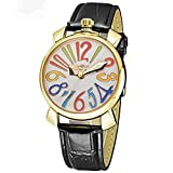 Bestn Wristwatches Fashion Unisex Big Colorfully Number Gold White Dial Auto Mechanical Watch