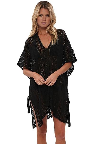 3164d2de49 Prime Leader Black Crochet Knitted Tassel Tie Kimono Beachwear(Black, one  size)For Women at Amazon Women's Clothing store: