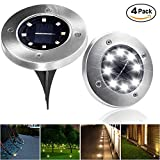 LIGHTPOOL Solar Ground Lights Lights for Patio Garden Pathway Outdoor in Ground Waterproof Stainless Steel Lights with 8 LED [4 Pack][White] For Sale