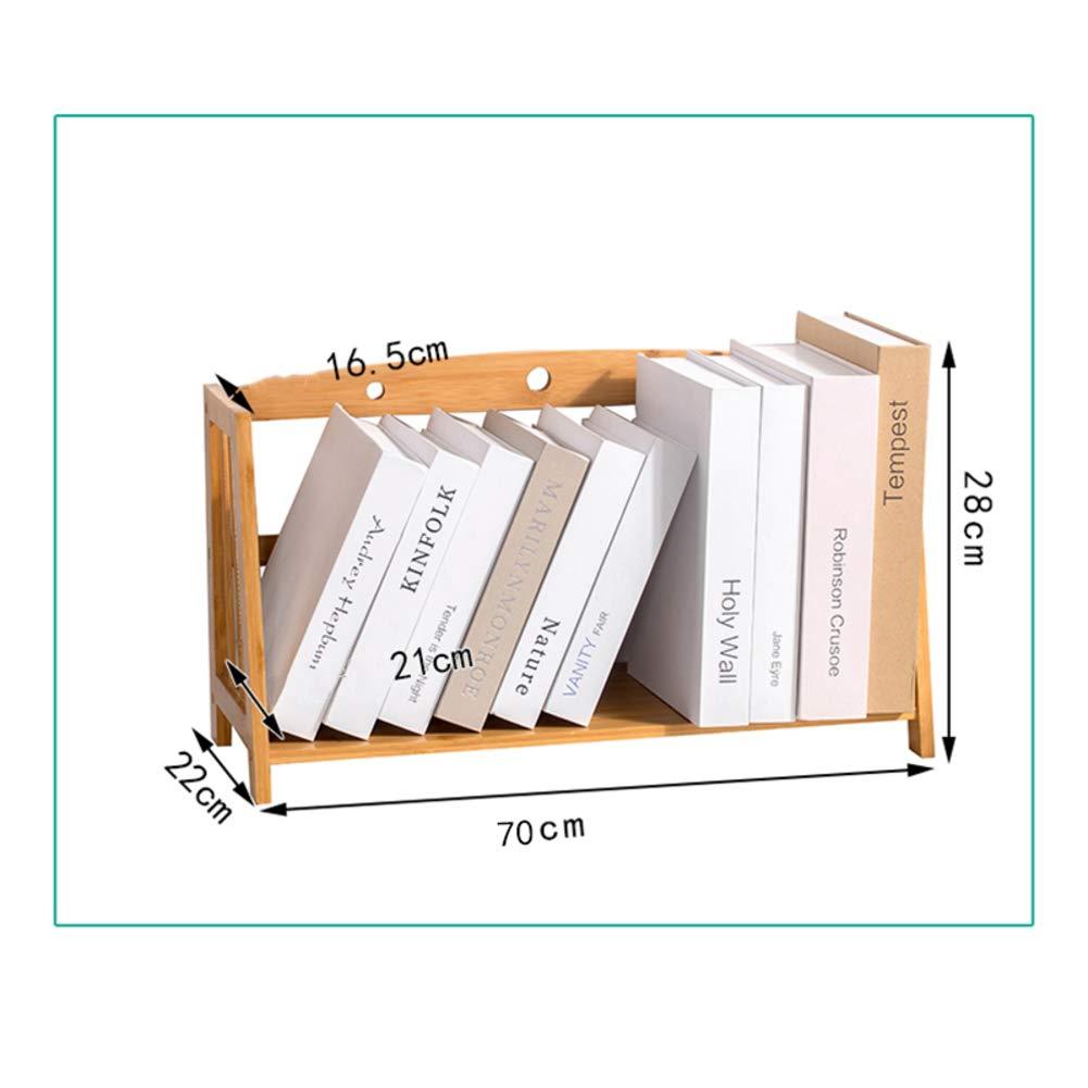 J 70x22x28cm(28x9x11inch) Desk Organiser Bookshelf, Simple Bookshelf, Multipurpose Storage Rack Shelf Desktop Shelves Easy Assembly for Office Bamboo Wood-n 32x19x21cm(13x7x8inch)