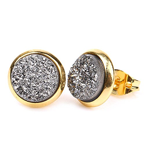 - Women Colorful Gold Plated Bezel 8mm Round Natural Druzy Agate Earrings (Silver)