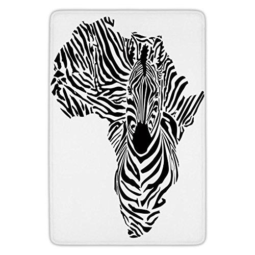 (Bathroom Bath Rug Kitchen Floor Mat Carpet,Safari,Illustration of African Map with Zebras Camouflage Stripes Patterns Cultural Print,Black White,Flannel Microfiber Non-slip Soft Absorbent)