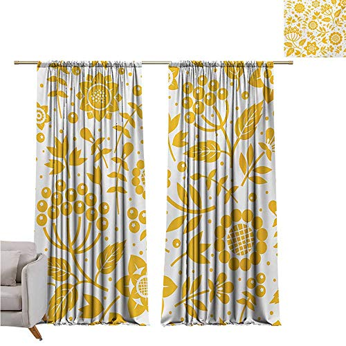 Anzhutwelve Yellow Flower,Sliding Door Insulated Curtains Rustic Composition with Berries Twigs Graphic Flora Nature Leaves Pattern W84 x L84 Noise Reducing Curtain