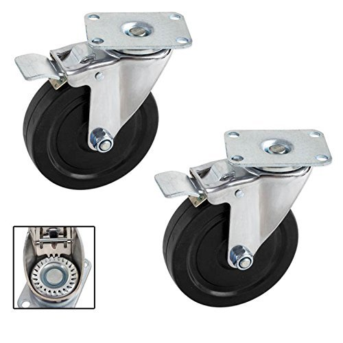 Pair Heavy-Duty 5 in. Swivel Casters with Double-Lock Brake - 600 LB for the Set of Two