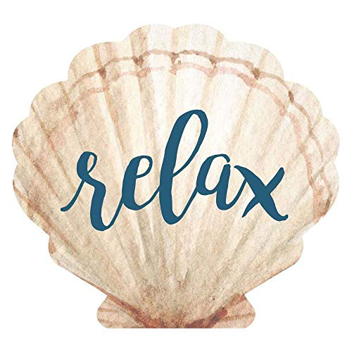 Seashell Plaques - P. Graham Dunn Relax Seashell Scalloped Nautical Cream 4 x 3 Pine Wood Small Tabletop Plaque