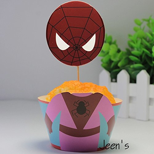 12 set Supergirls Cupcake toppers and wrappers,Supergirls Party decoration,Batgirl,Superwoman,spidergirl,Supergirls Cupcake toppers,Avengers party decoration,(4 designs and 3 of each is included) by Cupcakeland