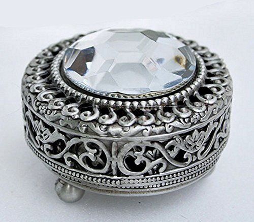Mini Vintage Round Jewelry Decorative Trinket Box Ring box Small Metal Case 2.2 inch (Tin (Matt Gray))