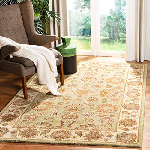 Safavieh Heritage Collection HG343A Handcrafted Traditional Oriental Green and Gold Wool Area Rug 6 x 9