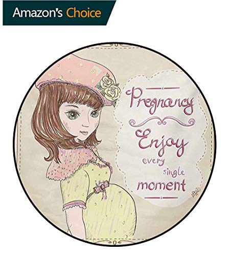 RUGSMAT Quotes Super Soft Circle Rugs for Girls,Pregnancy Enjoy Every Single Moment Clipart Pregnant Woman Dress Hat Baby Room Decor Round Carpets,Diameter-31 Inch Eggshell Pink Multicolor