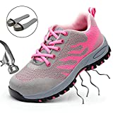 SUADEEX Steel Toe Shoes Men, Work Shoes, Safety Shoes, Steel Toe Boots for Men, Pink-39