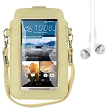 "Mini PU Leather Touch Screen Window Wallet Case for BLU Dash L3 / Grand M / Studio J5 / Tank Xtreme 4.0 / Alcatel A3 / U5 / Asus Zenfone Live 5"" + Vangoddy Earbud (Beige / Yellow)"