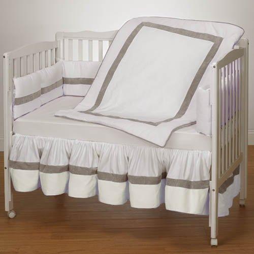 Baby Doll Bedding Classic II Mini Crib/Port-a-Crib Bedding Set, White