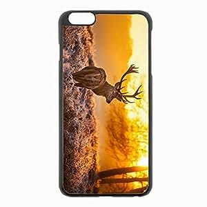 iPhone 6 Plus Black Hardshell Case 5.5inch - deer grass sunset nature Desin Images Protector Back Cover