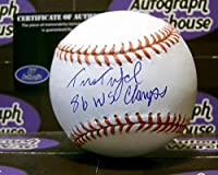 Tim Teufel autographed baseball inscribed 86 WS Champs (1986 New York Mets)