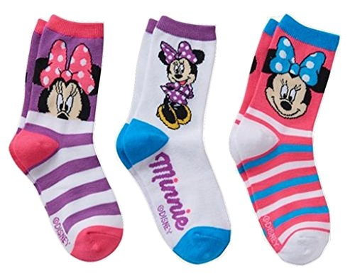 Price comparison product image Disney's Minnie Mouse Girls 3 Pair Crew Socks Gift Box Size 6-8 (Shoe 10.5-4)