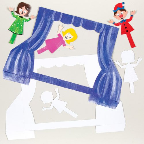 Baker Ross Card Puppet Theatre Kits with Figures for Children to Design Decorate and Personalize. Creative Craft Set for Kids (Pack of 6) ()