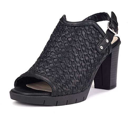Donna Sandalo Weave Nero EU The Be Me FLEXX Tacco 41 xqCfOn