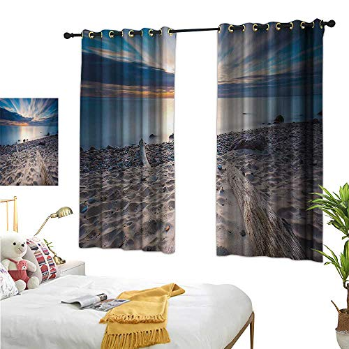 Kitchen Curtains Driftwood,Seascape Theme Rocky Sea Shore with Driftwood Trees Trunks Cloudy Sky Image,Blue and Beige 72