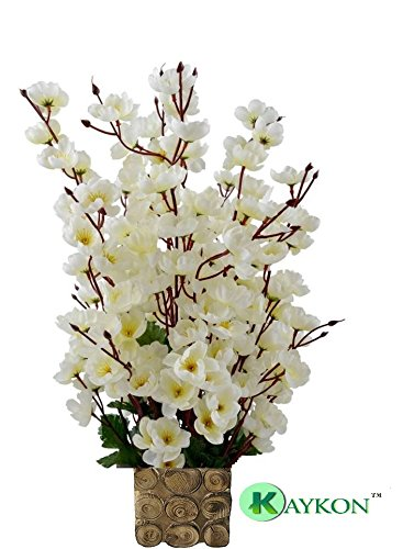 0368fa520388e Buy KAYKON Beautiful Artificial Flowers Orchid Flower Bunch with Designer  Wooden Pot Flowers for Home Decoration - 16 Sticks (White) Online at Low  Prices in ...