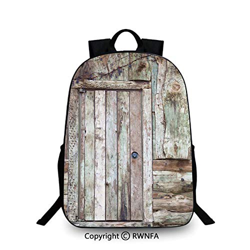 Backpack for Kids,Old Rustic Barn Door Cottage Country Cabin Theme Rural Mystic Entrance of Home Decorative School Backpacks For boys Warm Taupe Cocoa