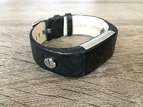 Black Vintage Leather Band For Fitbit Charge 2 Heart Rate Fitness Wristband Tracker Replacement Accessory Bracelet With Two Silver Rivets Handmade Adjustable Strap