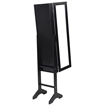 Amazoncom Black Mirrored Jewelry Cabinet Armoire Mirror Organizer