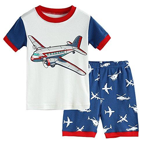 Hsctek Boys' Pajamas Set, Children' Short PJS, Kids' Cotton Sleepwear Clothes(9, White Airplane 1) by Hsctek