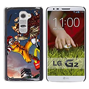 For LG G2 / D800 / D802 / D802TA / D803 / VS980 / LS980 Case , King Fast Food Fighting Golden Arc - Diseño Patrón Teléfono Caso Cubierta Case Bumper Duro Protección Case Cover Funda