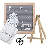 Gray Felt Letter Board 10x10 Inches. Changeable Letter Board with Stand Oak Frame + 374 Letters + Scissors + Easel + 2 Drawstring Pouches Changeable Message Board Sign Board Christmas Home Decor
