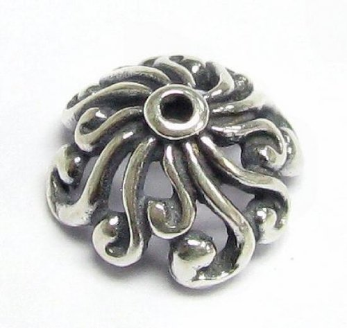 9mm Round Filigree - 2 pcs .925 Sterling Silver Round Flower Filigree Bead Cap 9mm/Findings/Antiqued