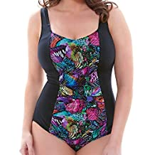 Elomi Kaleidoscope Gathered Swimsuit - Moulded Cups in Black (7431) *Sizes 18-26*