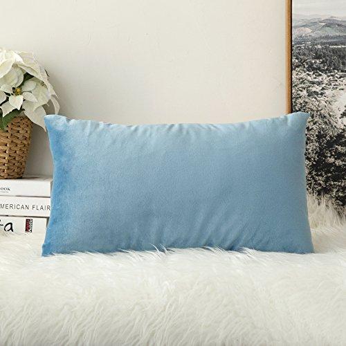 🥇 MIULEE Terciopelo Funda de Cojine Funda de Almohada del Sofá Throw Cojín Decoración Almohada Caso de la Cubierta Decorativo para Sala de Estar 30x 50cm 12 x 20 Pulgadas 1 Pieza Agua Azul