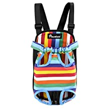 Pawaboo Pet Carrier Backpack, Adjustable Pet Front Cat Dog Carrier Backpack Travel Bag, Legs Out, Easy-Fit for Traveling Hiking Camping, Large Size, Colorful Strips