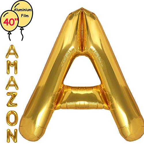 Large 40 Inch Giant Gold Letter Balloon Birthday Party Decorations-Mylar Foil Big Alphabet Helium Balloon ... (Letter A)]()