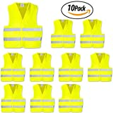 High Visibility Safety Vest with Silver Stripe,ANSI Class Unrated,Universal Size,Pack of 10 (Yellow)