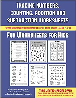 Fun Worksheets for Kids (Tracing numbers, counting, addition and ...