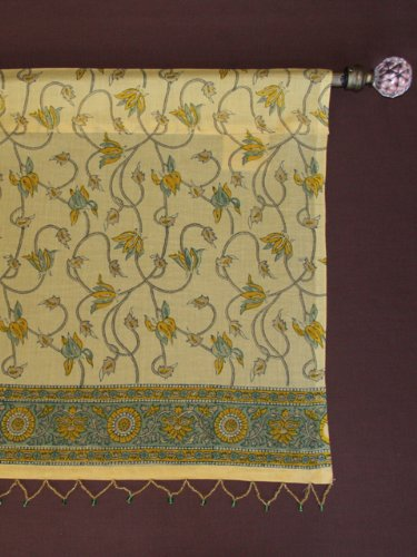 Waltz of the Vines ~ Yellow Floral Summer Beach Window Valance 46x17