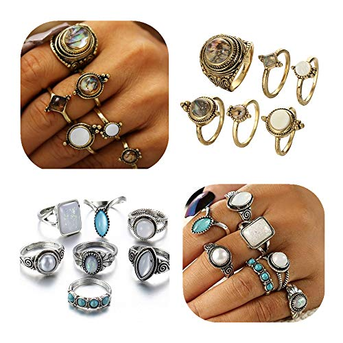 Ring Pearl Abalone - ANGELANGELA Vintage Assorted 12 Set Stacking Rings, Antique Silver Joint Above Knuckle Nail Midi Band Statement Stackable Cuff Toe Finger Ring Set (13Pc Set Opal Pearl)