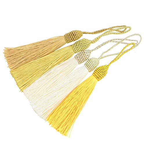 20pcs 15.5cm/6 Inch Silky Floss Bookmark Tassels with 2-Inch Cord Loop and Small Chinese Knot for Jewelry Making, Souvenir, Bookmarks, DIY Craft Accessory (Mixed Yellow)