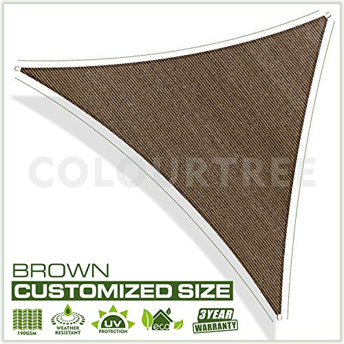 ColourTree Customized Size Order to Make Sun Shade Sail Canopy Mesh Fabric UV Block Right Triangle – Commercial Standard Heavy Duty – 190 GSM – 3 Years Warranty Right Triangle 14 x 15 x 20.5 Brown
