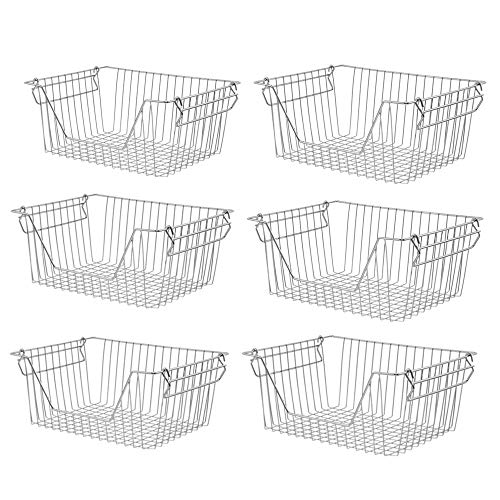 Slideep Stackable Storage Baskets Stainless Steel Cabinet Organizer Sturdy Metal Wire Pantry Freezer Bin for Pantry Home…