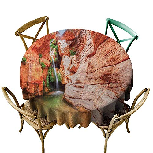 - Mkedci Elegance Engineered Tablecloth Americana Elves Chasm Colorado River Plateau Creek Grand Canyon Image Print Waterproof/Oil-Proof/Spill-Proof Tabletop Protector D39 Scarlet Green Pale Brown