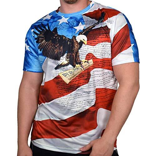 T-shirt American Pride White - American Summer Mens Crewneck Sublimation Print T-Shirt (XXL, JD117-114)